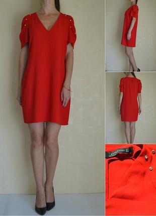 Красное платье свободного кроя zara