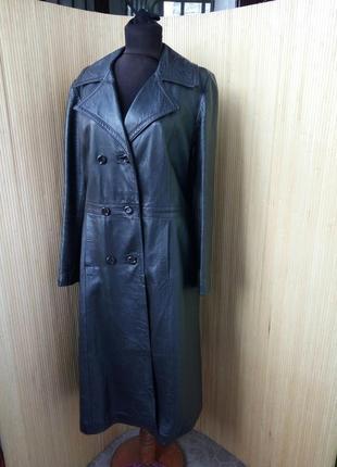 Кожаный плащ пальто