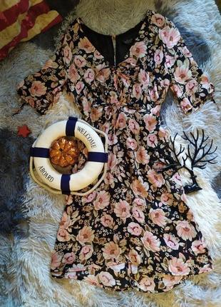 Плаття платье сукня цветы квіти миди виріз на спині вырез