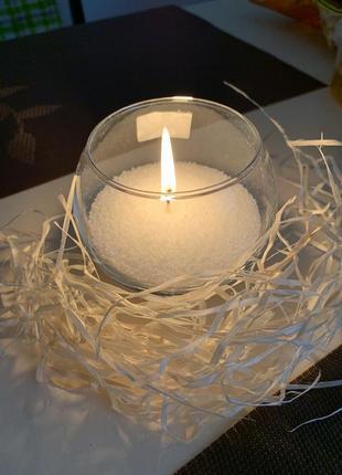 Эко свеча пальмовая насыпная свеча в круглом подсвечнике