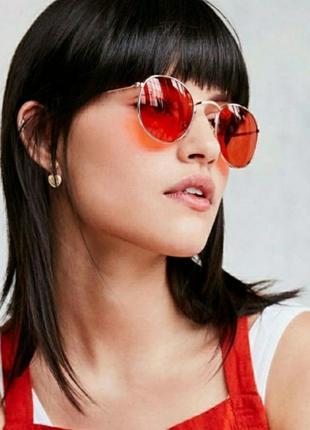 Красные имиджевые солнечные очки, цветные очки линзы, червоні окуляри для іміджу