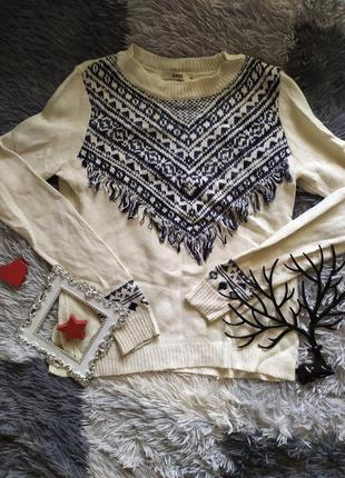 Светр свитер кофта белый этнический