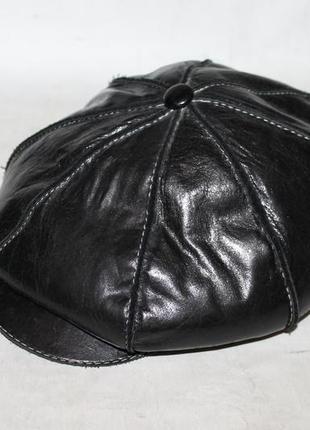Кожаная кепка восьмиклинка 100% натуральная кожа+овчина