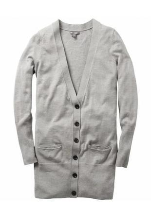 Кардиган удлиненная кофта свитер серий 100%шерсть