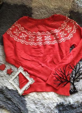 Кофта светр свитер зимний рождественский шерсть