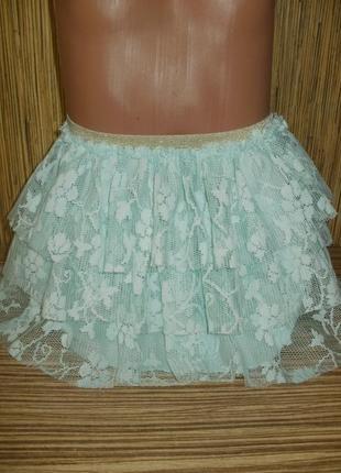 Нарядная юбка мятного цвета на 4 года