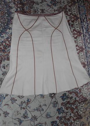 Котоновая юбка цвета кофе с молоком new look