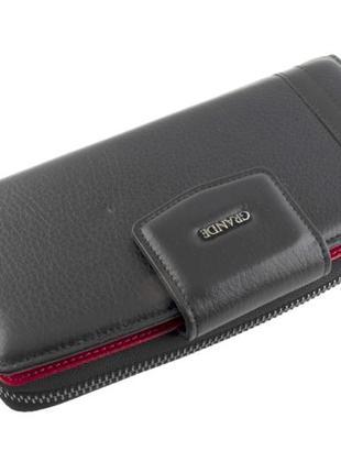 Большой женский кошелек с отделением на молнии grande 1-016 черный, кожаный