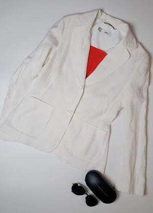 Льняной пиджак белый mango