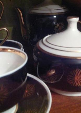 Чайный сервиз кобальт позолота ссср