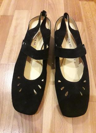 41,5 р. theresia m. элегантные замшевые туфли босоножки сабо