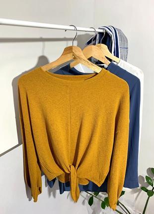 Гірчична блуза з завязкою спереді