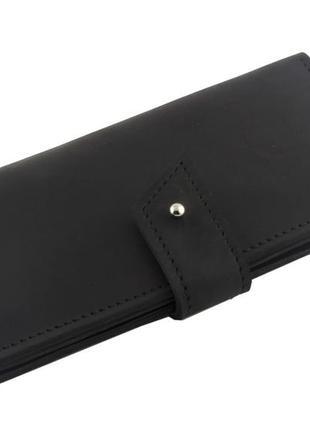 Кошелек извинтажной кожи ручной работы mb collection 1-031 черный, кожаный