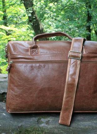 Мужская сумка для ноутбука и документов mb collection 3-021 коричневый, кожаная4 фото