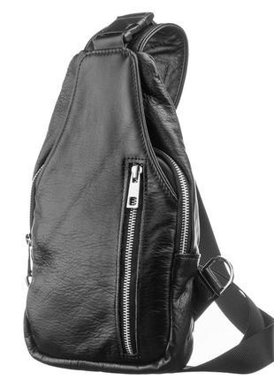 Мужская сумка рюкзак mb collection 3-018 черный, кожаная