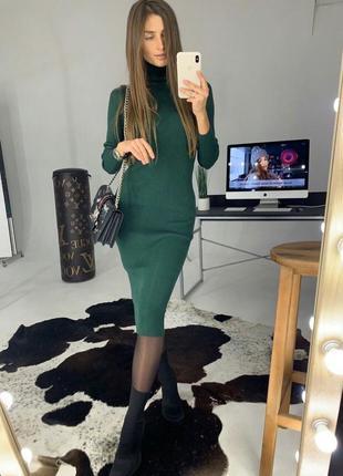 ❤️качественное вязаное платье резинка😍миди с рукавом