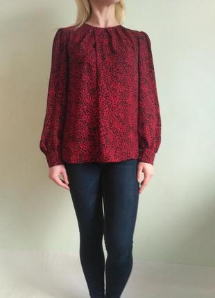 Леопардовая блуза с длинным рукавом