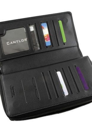 Мужской клатч cantlor 1-001 кожаный черный