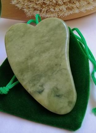 Массажер для лица гуа-ша, скребок гуаша, пластина для массажа гуа ша из нефрита