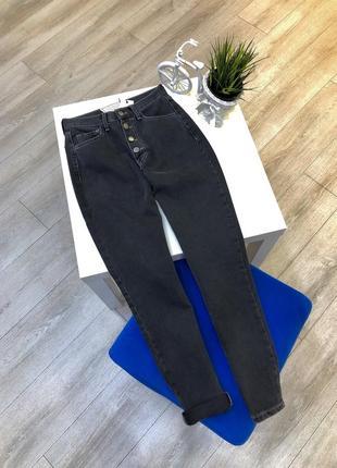 Классные джинсы мом с высокой посадкой, чёрные asos mom jeans