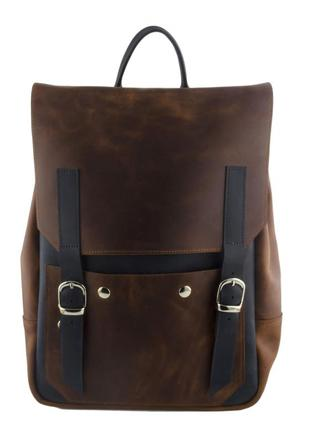 Современный рюкзак из винтажной кожи mb collection 3-002 коричневый+синий, кожаный