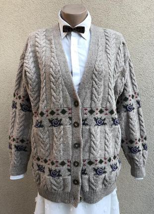 Винтаж,вязанный кардиган в косы,кофта на застежке,большой размер,италия,100%шерсть