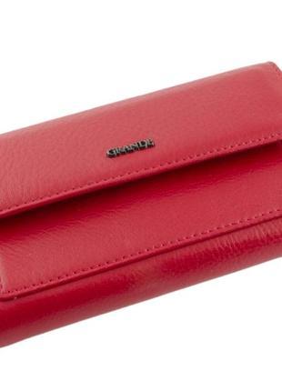Функциональный женский кошелек книга grande 1-019 красный, кожаный