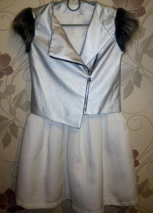 Платье с жилеткой на девочку 152см