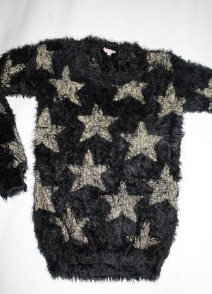13-14 років, дуже м'яка та нарядна кофта-туніка травка з золотистими зірками miss e-vie