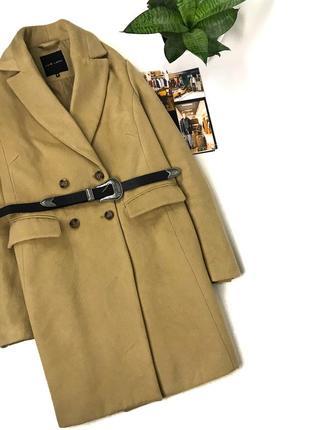 Двубортное бойфренд пальто прямого фасона new look