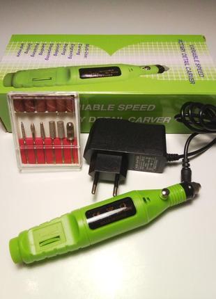 Фрезер-ручка для маникюра, зеленый+подарок алмазная фреза