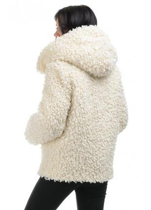 Тёплая средняя из эко меха шуба овчина под букле каракуль полу короткая с капюшоном s-l