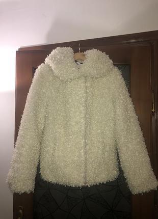 Тёплая фабричная из эко меха шуба овчина под букле каракуль укороченная с капюшоном s-l