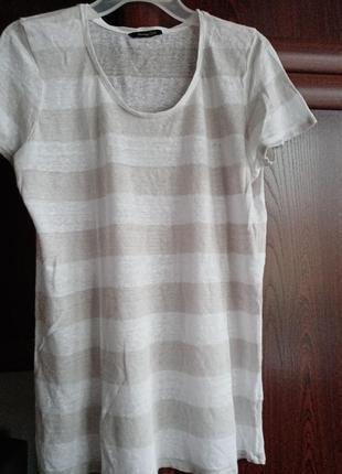 Льняная футболка полосатый топ в полоску