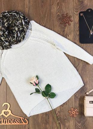 Ажурный свободный свитер с глубокой горловиной, рукавом 3/4 и узорчатыми вставками      sh4922