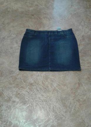 Юбка джинсовая средней длины, батал,евр.46