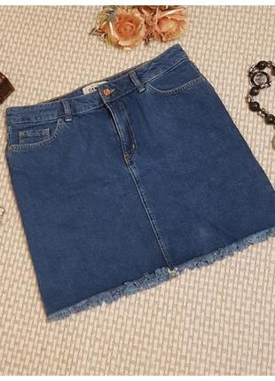 Джинсовая юбка с бахрамой/мини/new look
