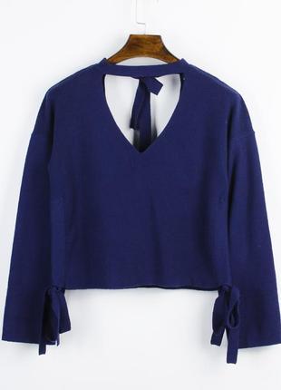 Нежный свитер фиолетовый, свободный свитер с чокером, свитер с завязкой, зимний свитер