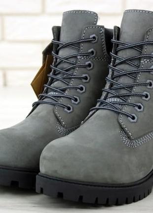 Женские зимние ботинки с мехом тимберленд😍timberland grey black😍жіночі зимні з хутром