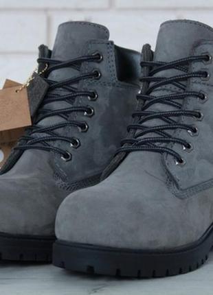 Женские ботинки с мехом тимберленд, зимние😍timberland grey black😍жіночі зимні з хутром