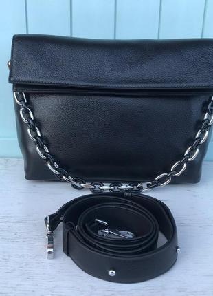Женская кожаная сумка через на плечо polina & eiterou  чёрная жіноча шкіряна чорна