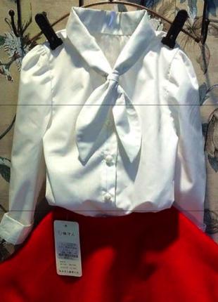 Коттоновая батистовая белая блузка рубашка на 2-3 года можно двойняшкам