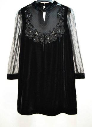 Трендовое бархатное платье zara