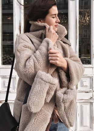 Пудра шубка овчина,шуба 2020 тедди,шубка натуральная тёплая зима чебурашка,плюшевая шуба