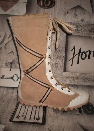 Стильные высокие кожаные ботинки на шнуровке стелька 24,5 см.