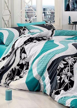 Хлопковое постельное белье бирюзовая волна полутоный размер