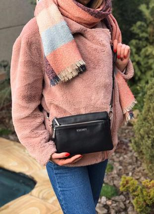 Женская кожаная сумка клатч polina & eiterou на три отделения через плечо жіноча шкіряна