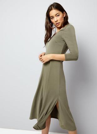Платье миди с разрезом из эластичной ткани, расклешенное new look масло