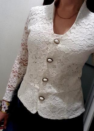 Кофта пиджак бренд bhs белая жакет ажурный нарядная летняя 10 s нежная