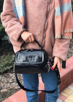 Женская кожаная сумка через плечо чёрная из масляной кожи жіноча шкіряна сумка чорна